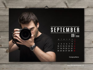horizontal month calendar template september
