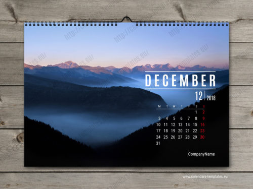 2018 horizontal monthly calendar template