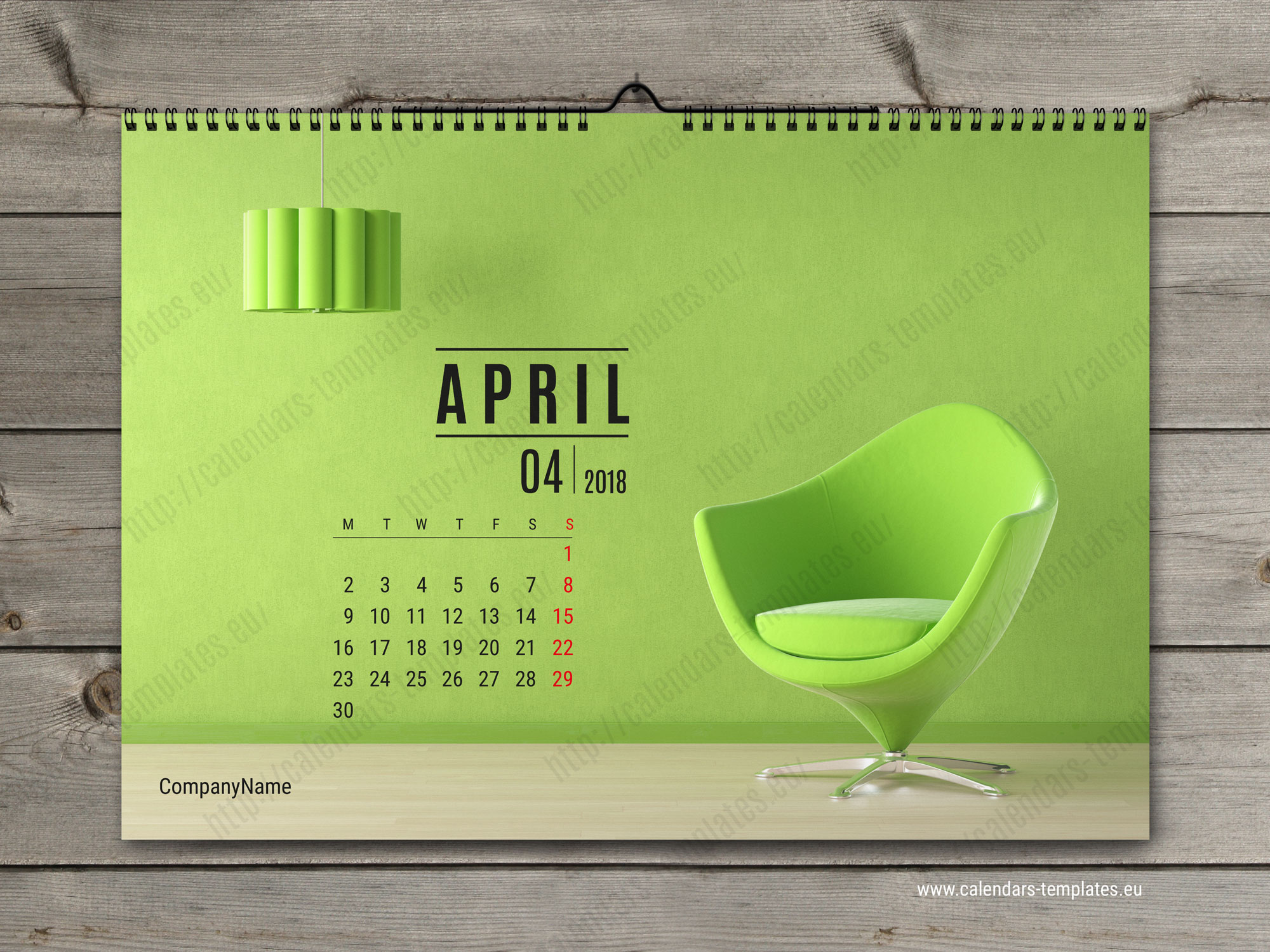 Wall Calendar Design Templates : Monthly calendar template photo wall horizontal