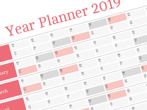 2018 Yearly Wall Planner