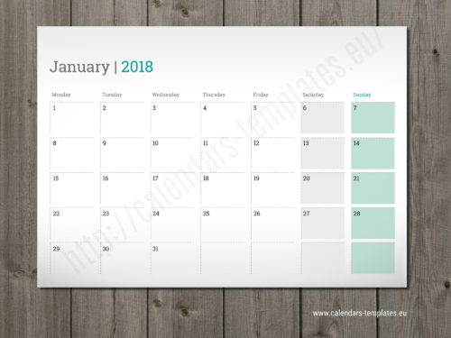 printable monthly planner 2018 template
