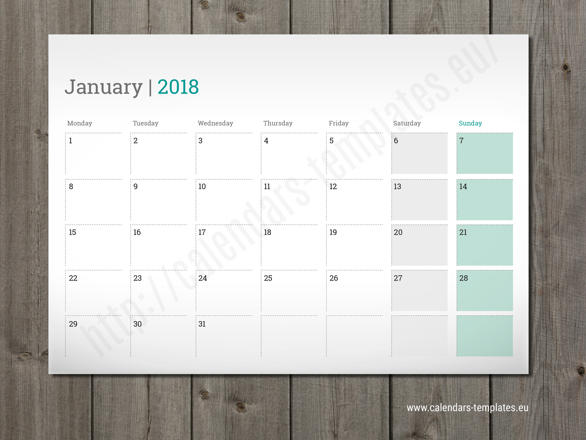 Desk Calendar Planner : Printable monthly planner desk wall or table pad