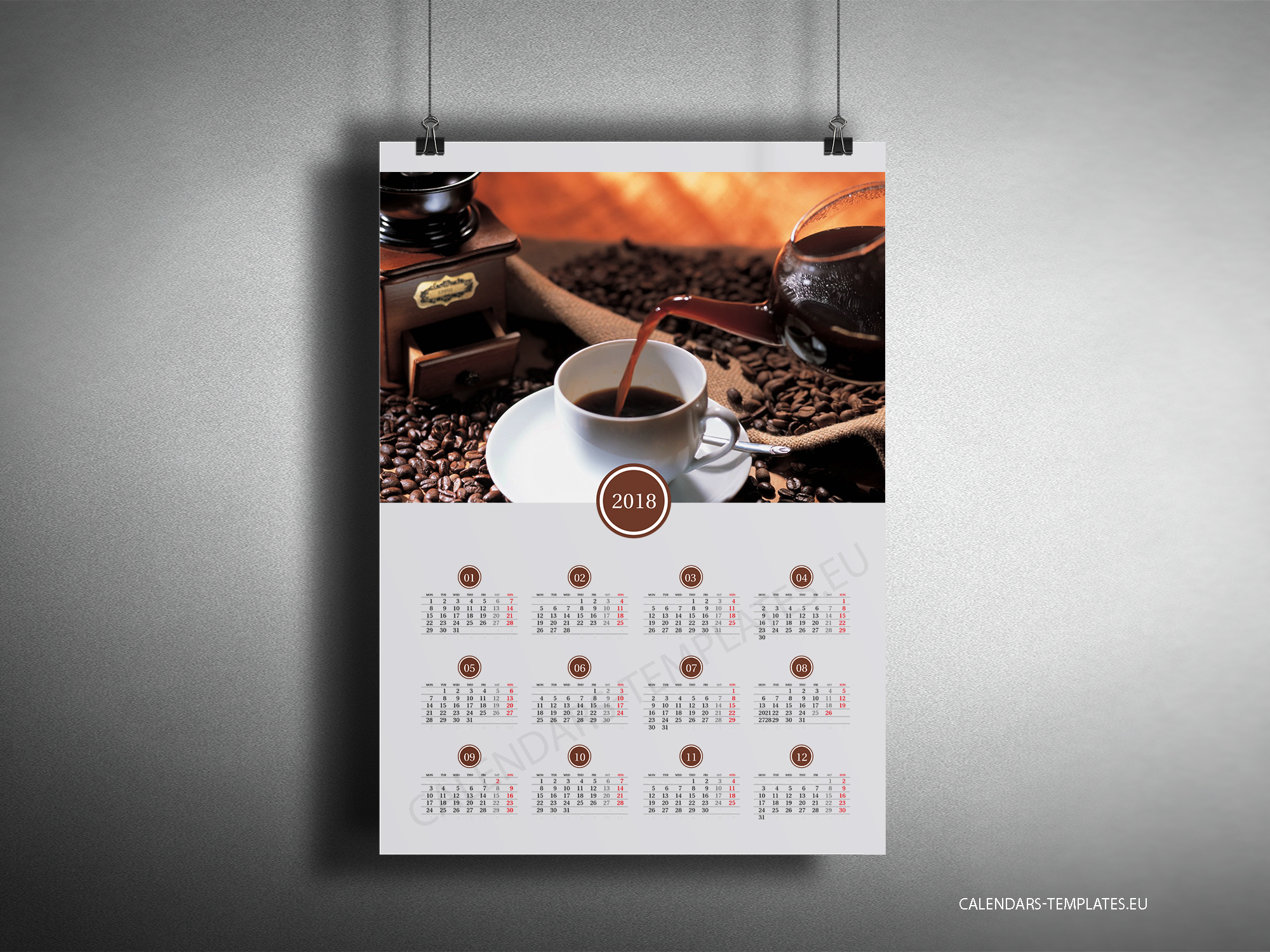 Big year calendar 2018 with image in PDF format. Yearly wall calendar