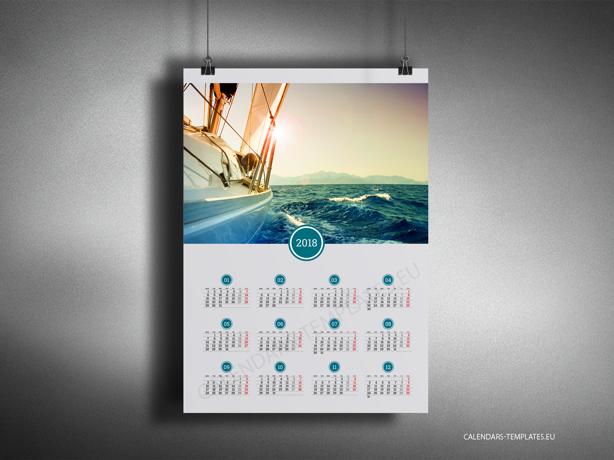 Calendar Design Poster : Big year calendar with image in pdf format yearly