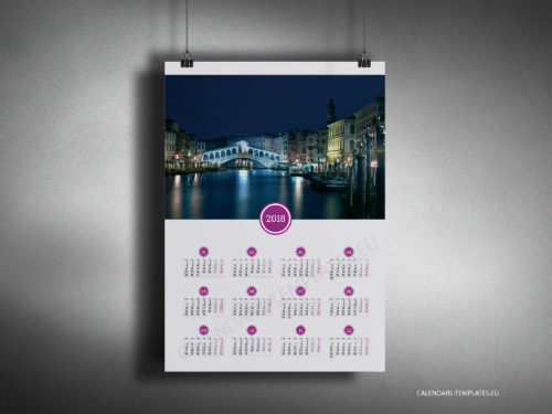 Calendar Category Ideas : Poster wall yearly calendars one page photo