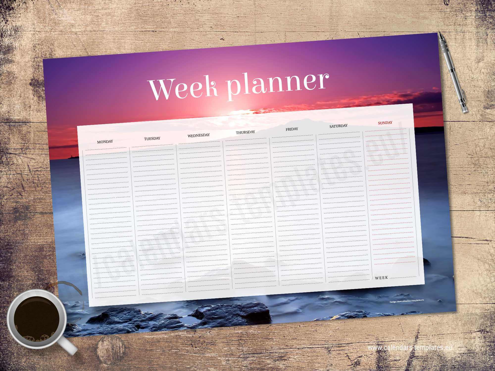 A2 Desk Printable Weekly Planner Weekly Agenda Template With Image