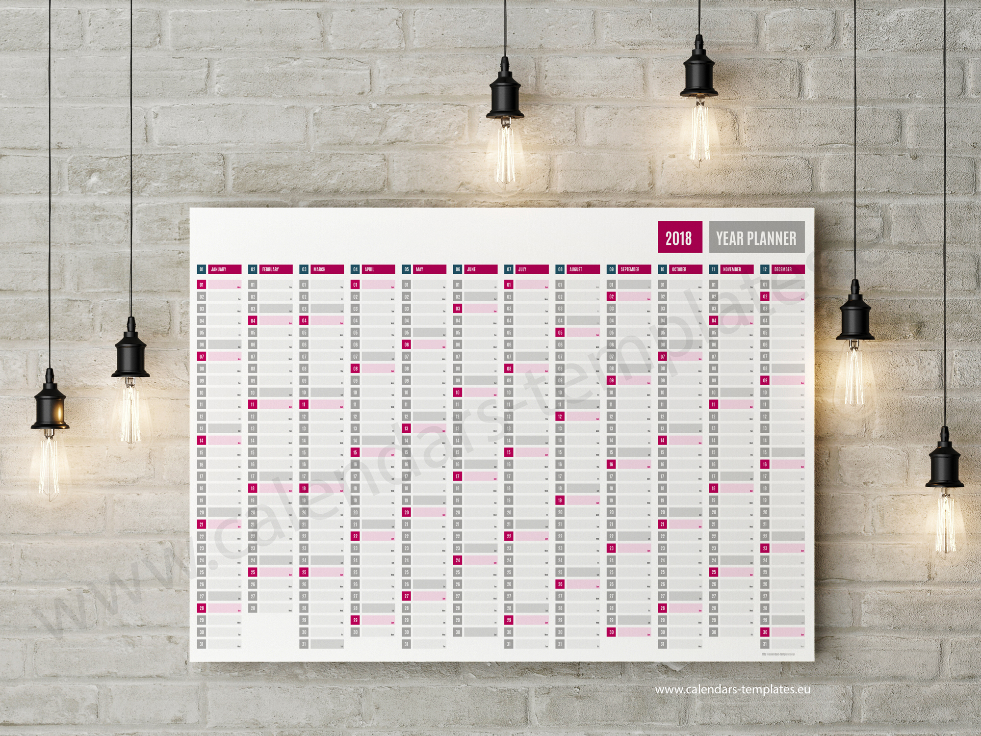 This is a twelve month free yearly planner, wall planner running from 1st January to 31st December This free yearly planner agenda consists of 12 columns one for each month of the year. Downloadable free yearly planner template in PDF format, A0, A1 A2, B0 and B1 size.