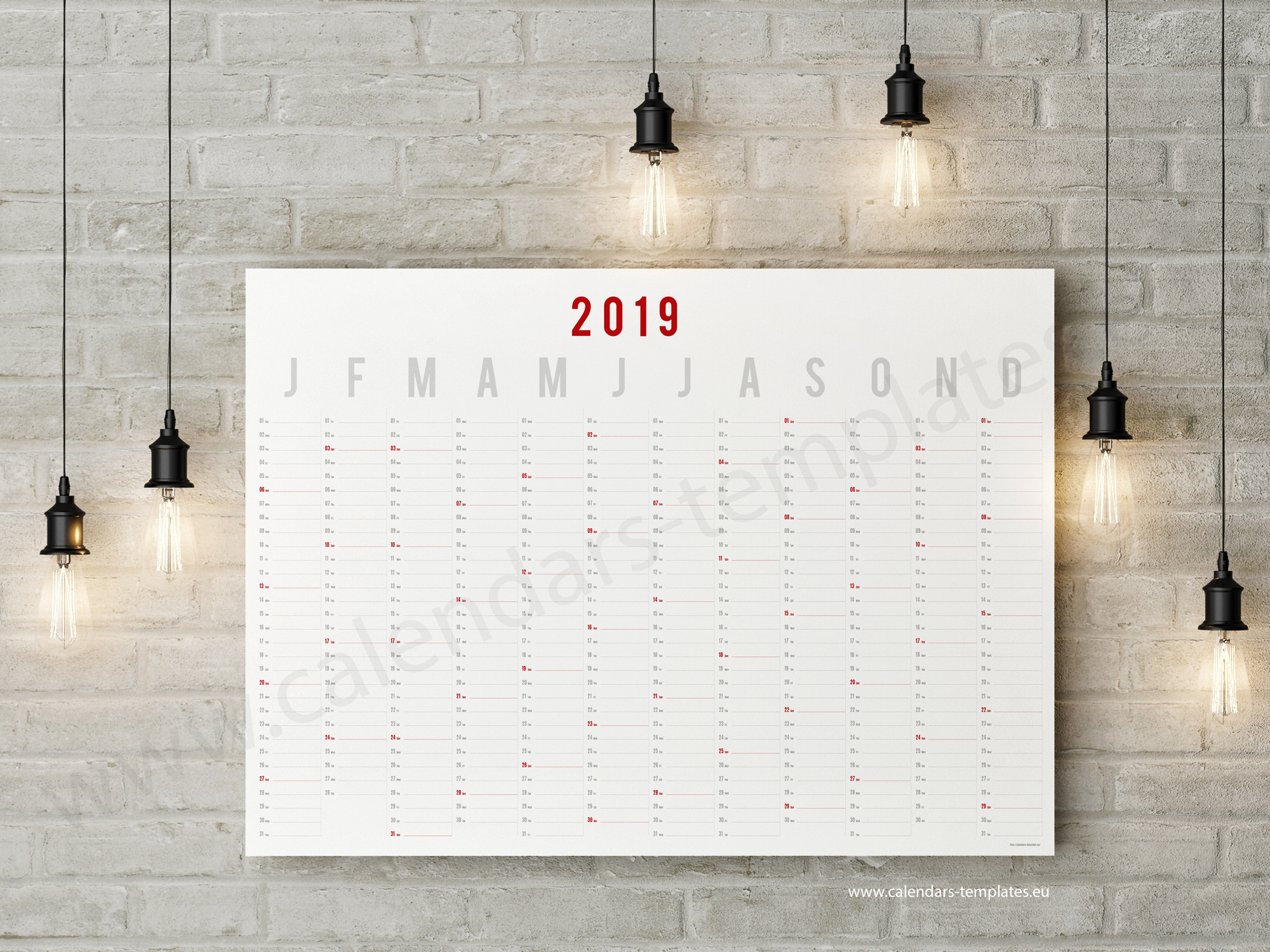 year wall planner 2019