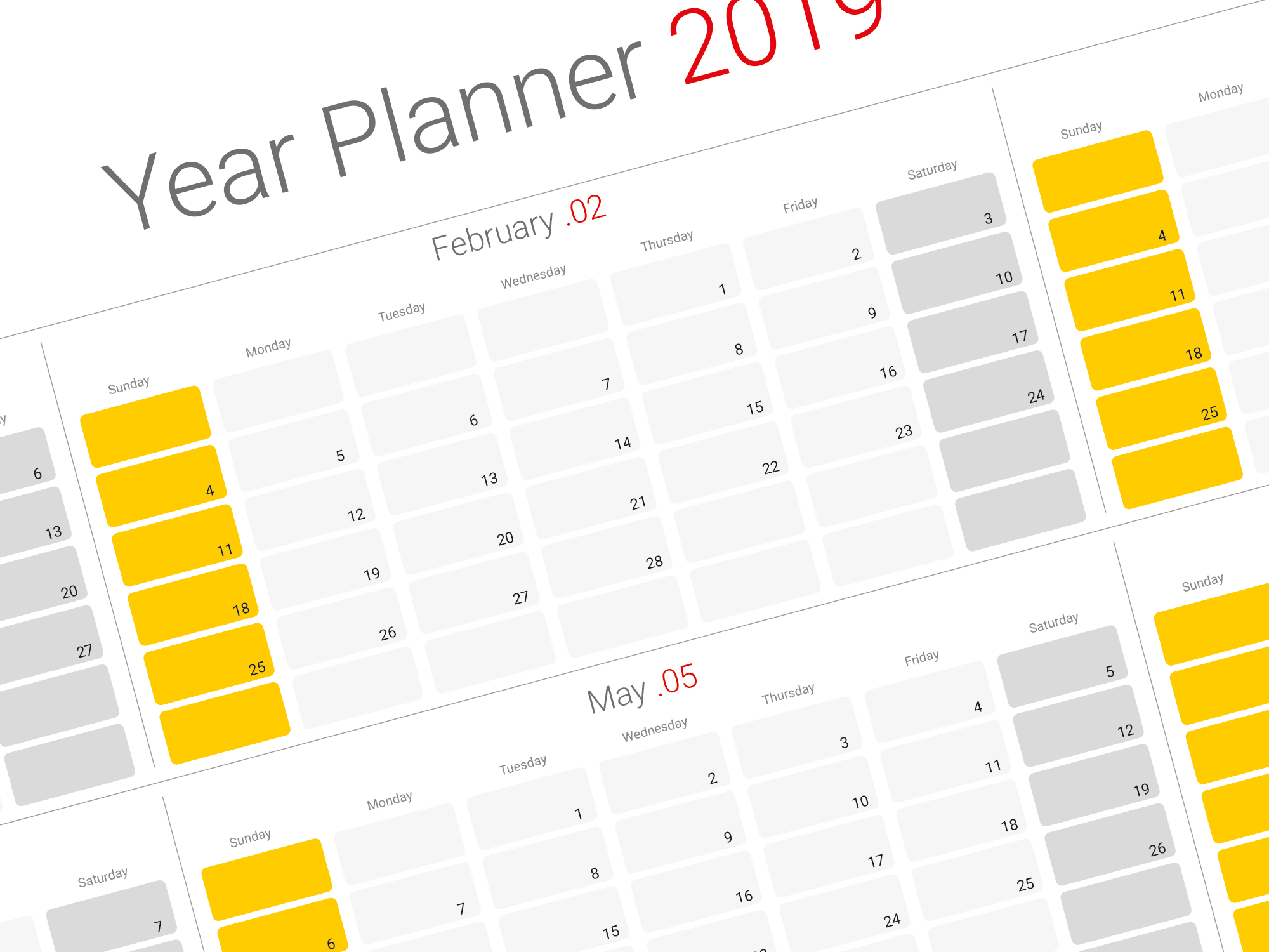 2019 yearly planner previous next