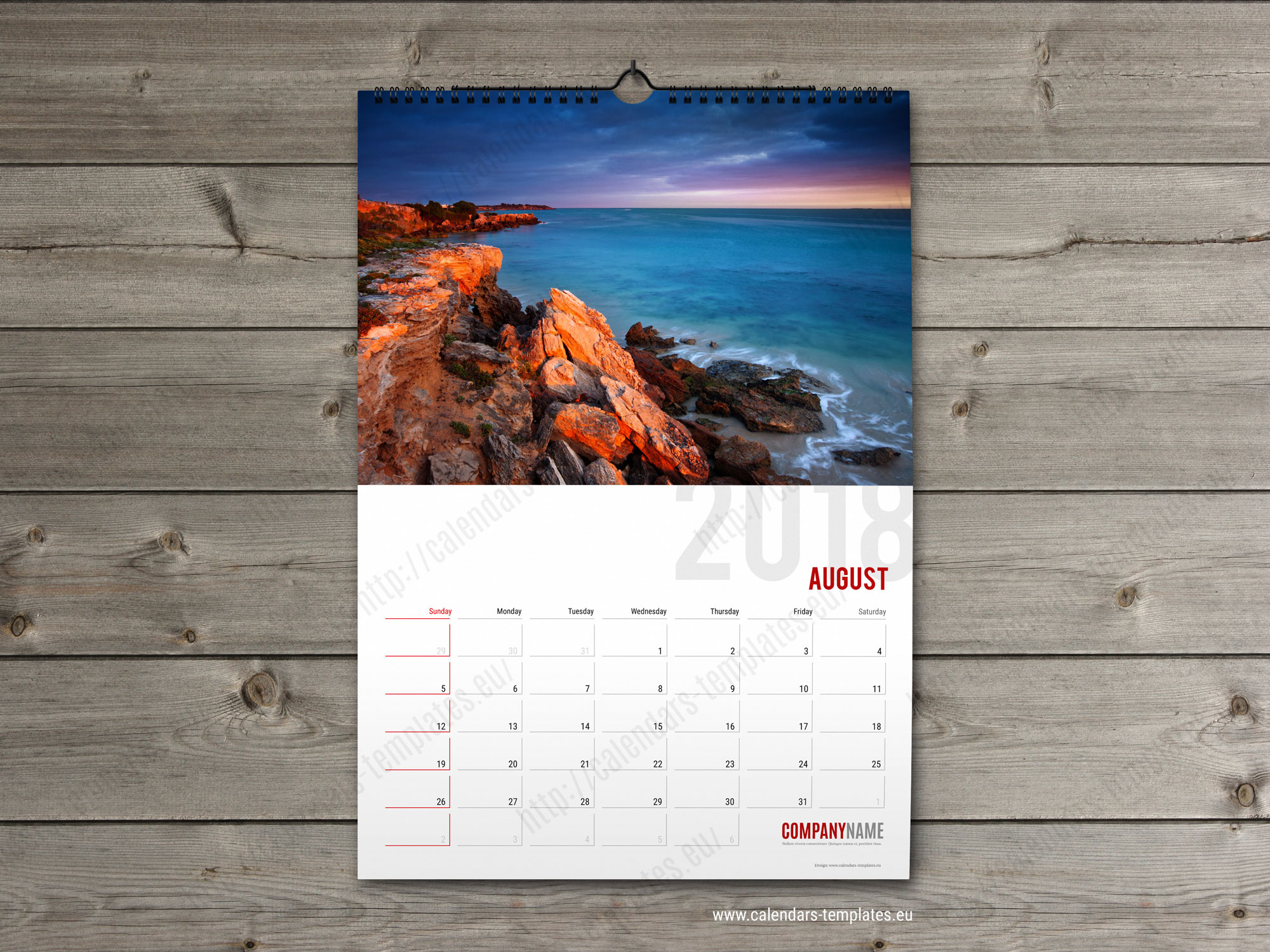 monthly calendar 2018 planner template printable pdf a2 and a3 size. Black Bedroom Furniture Sets. Home Design Ideas