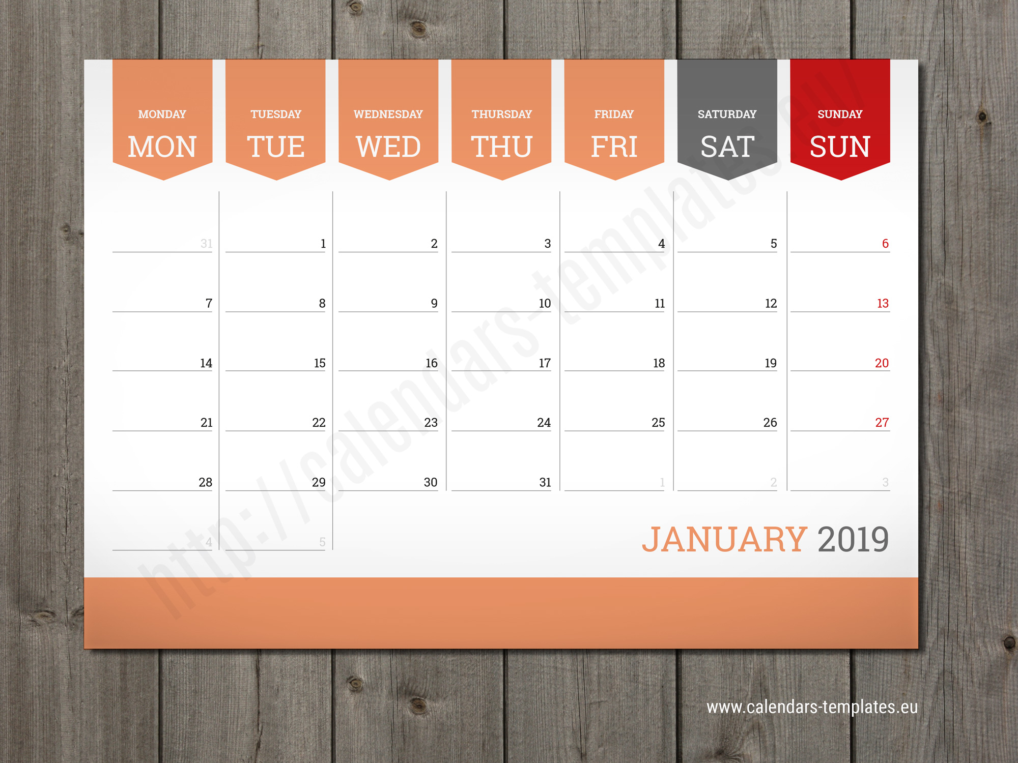 Calendar Planner Template : Monthly calendar planner wall or table pad
