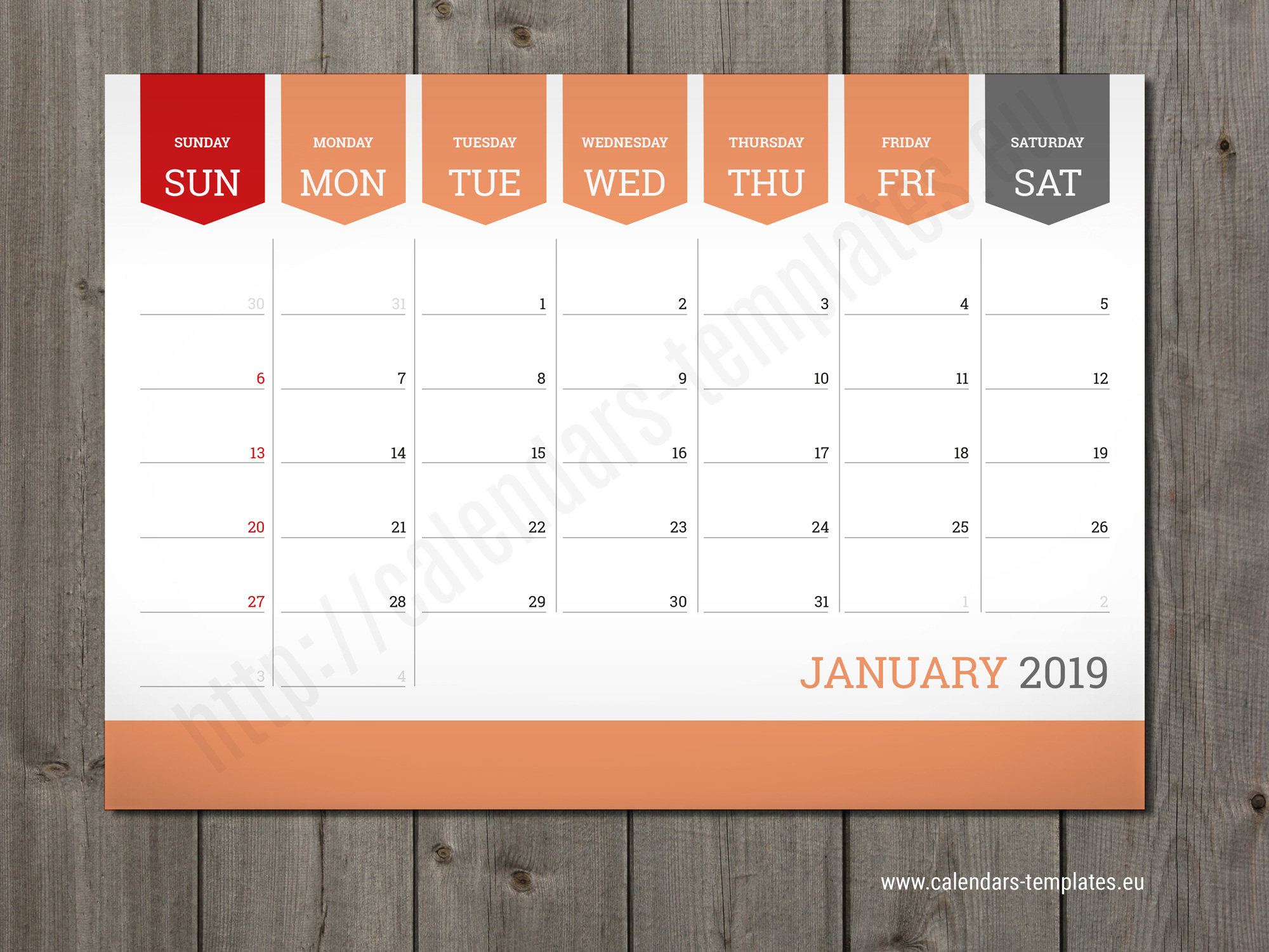 Calendar Typography Template : Monthly calendar planner wall or table pad