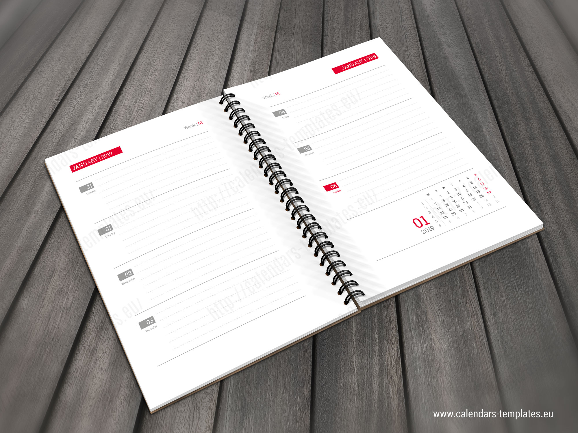 2019 Daily Calendar Planner notebook template in PDf and ...