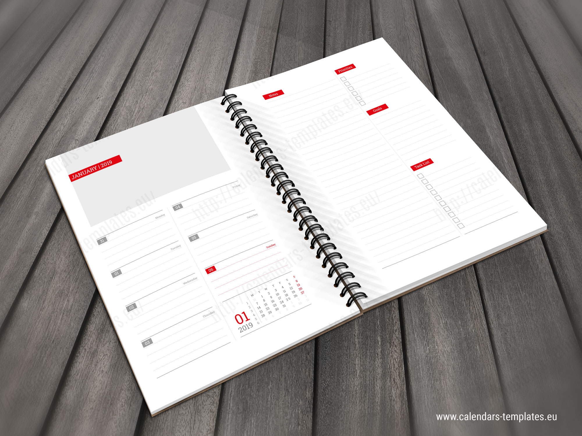 picture relating to Daily Planner Notebook known as 2019 Day-to-day Planner Laptop computer PD-W4 Template