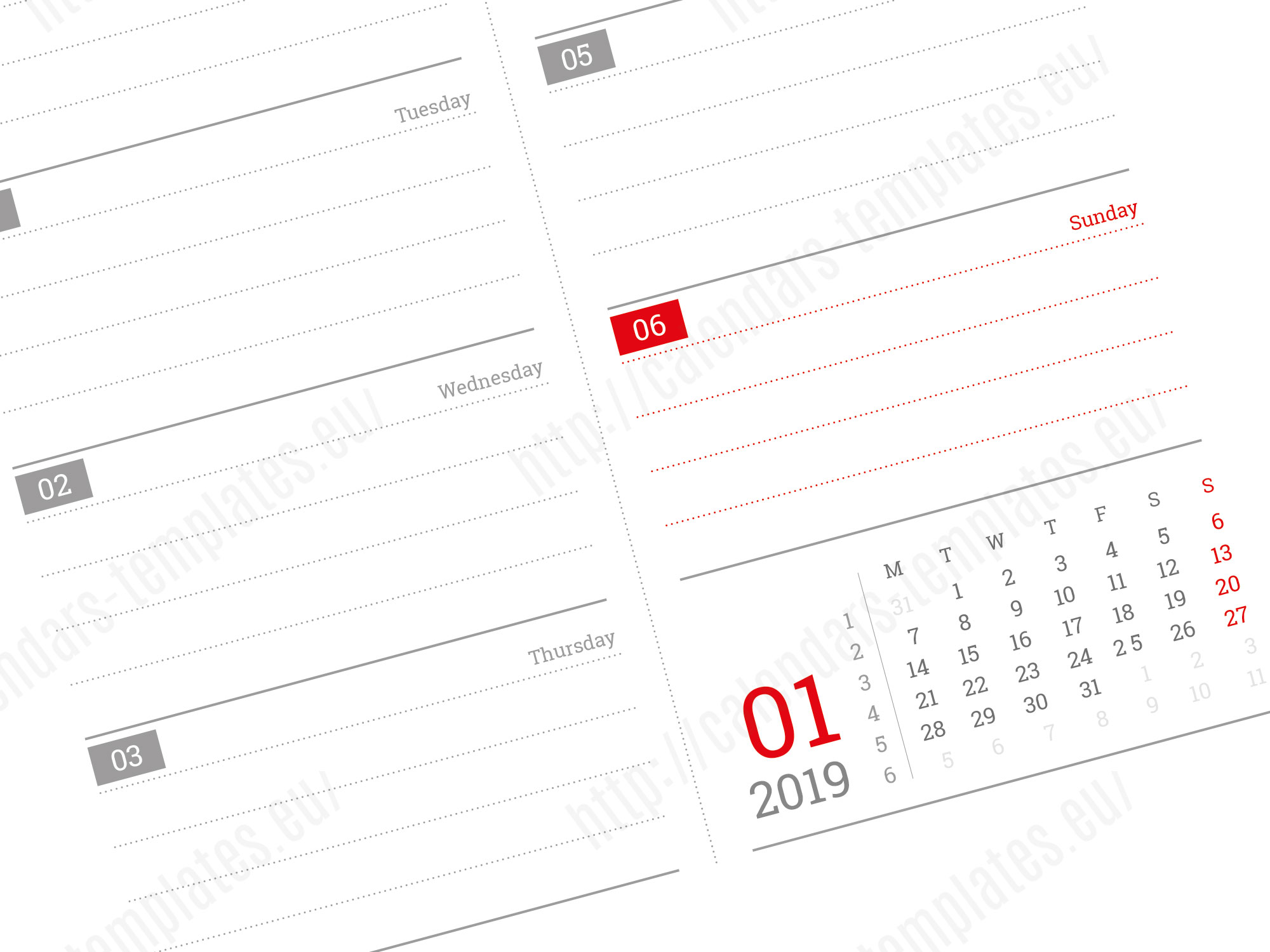 2019 daily planner template with image in pdf and indesign