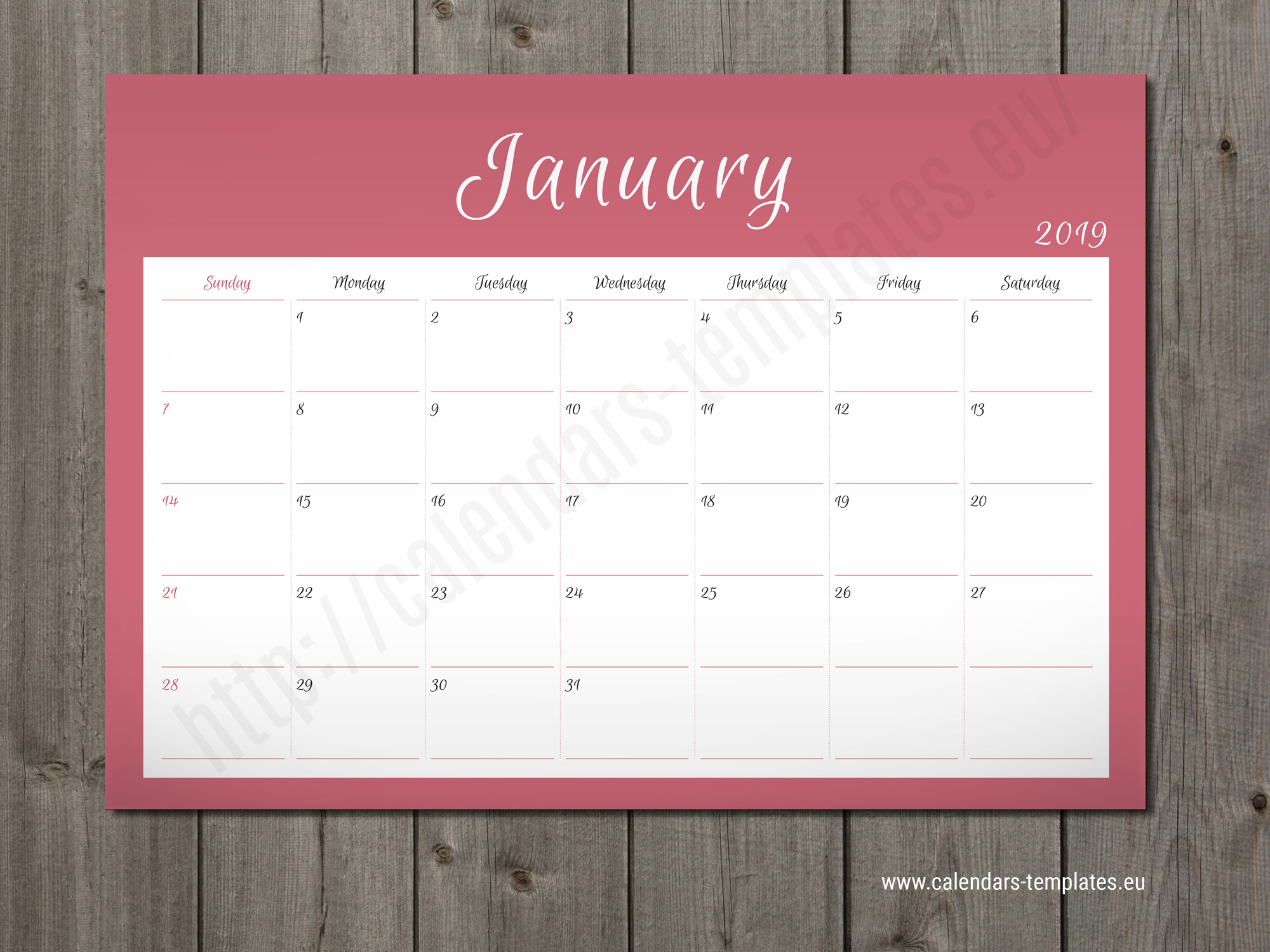 Monthly Planner 2019 Wall Or Table Pad Planner Template