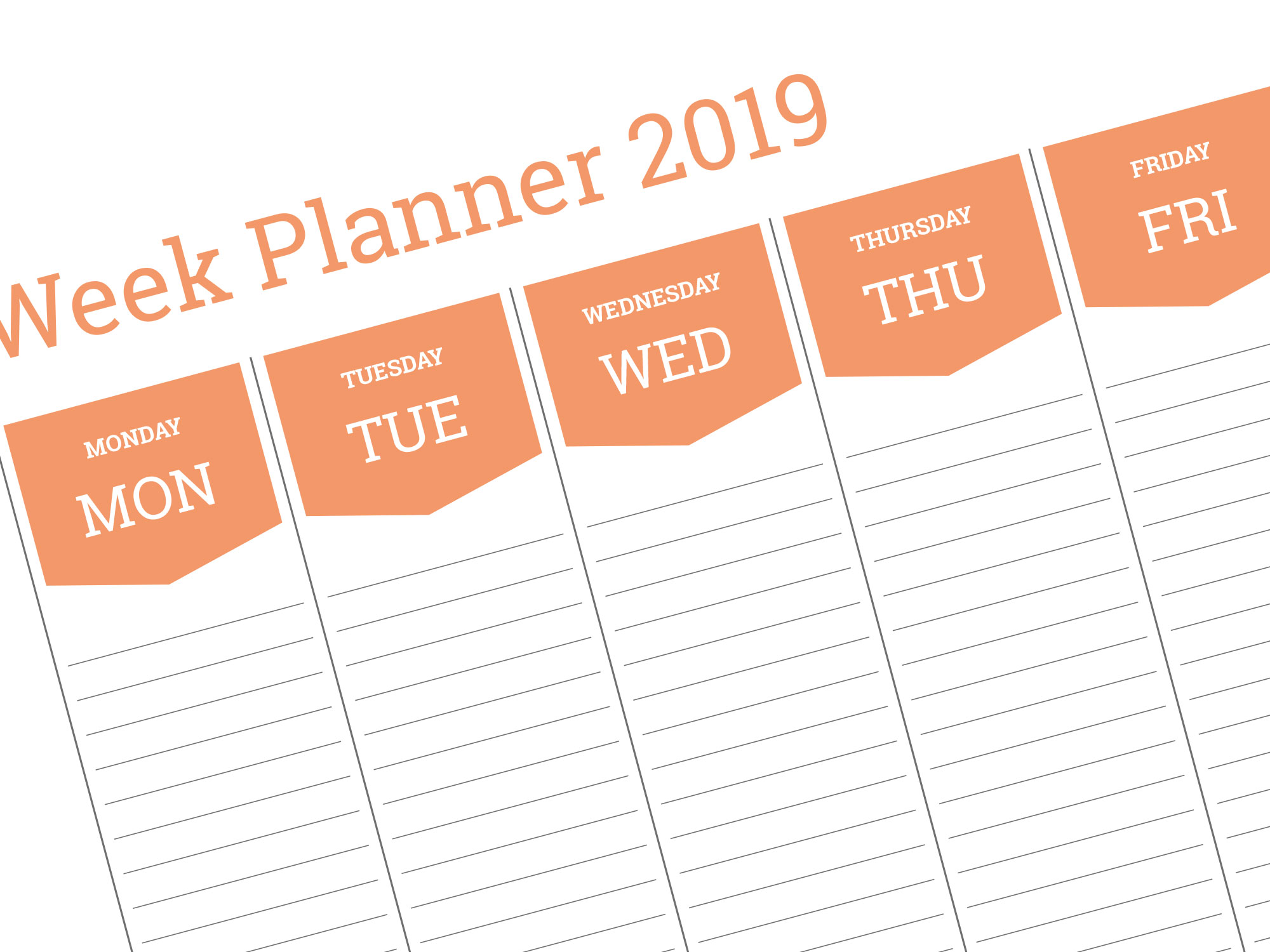 Weekly Planner Template 2019 A3 A2 A1 Size Pdf Format