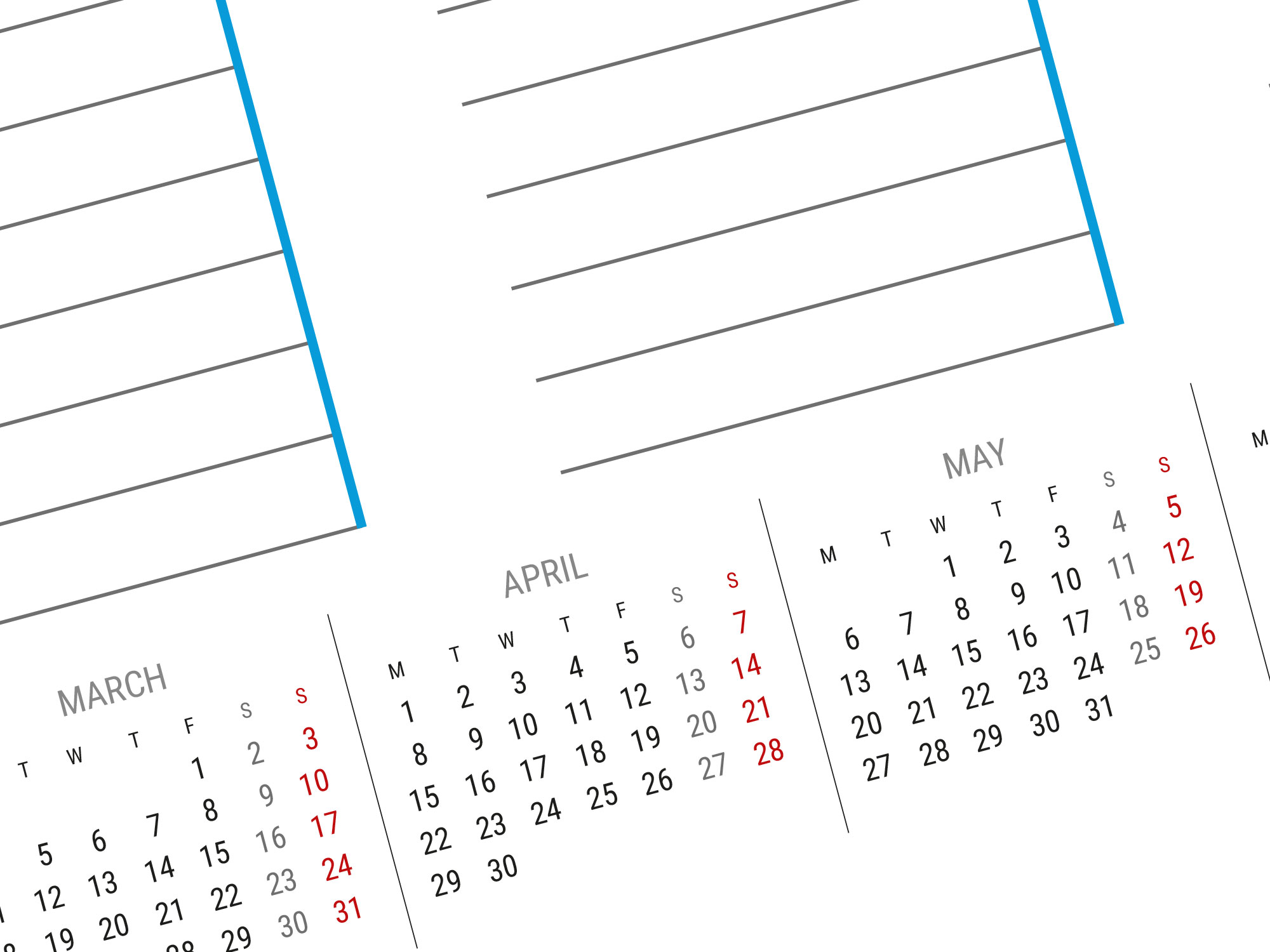 a1 a2 and a3 weekly planner template with small yearly calendar 2019