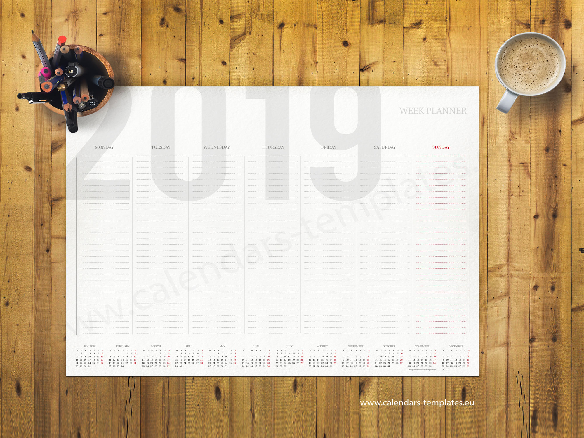 Blank Calendar Desk Pad : Weekly planner template with small yearly calendar