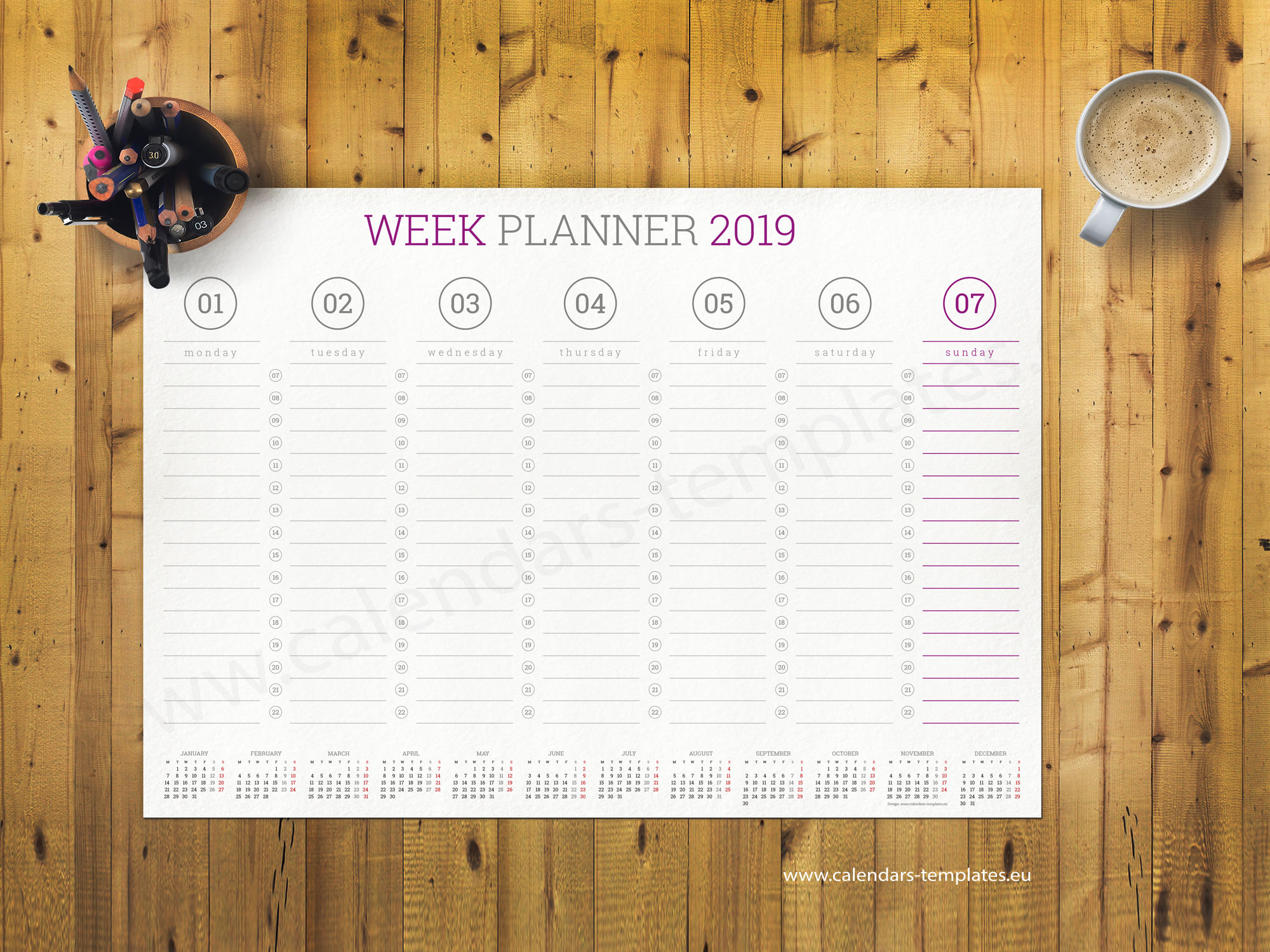 weekly wall planner template 2019  pdf format  a1  a2 and a3 size
