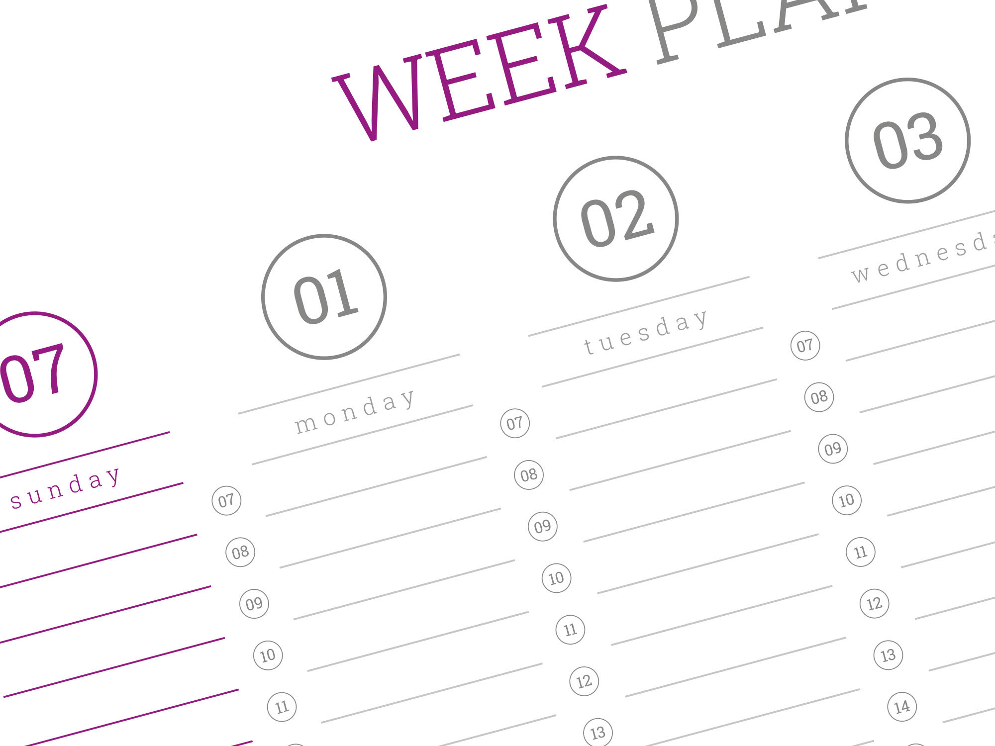 Weekly wall planner template 2019. PDF format, A1, A2 and ...
