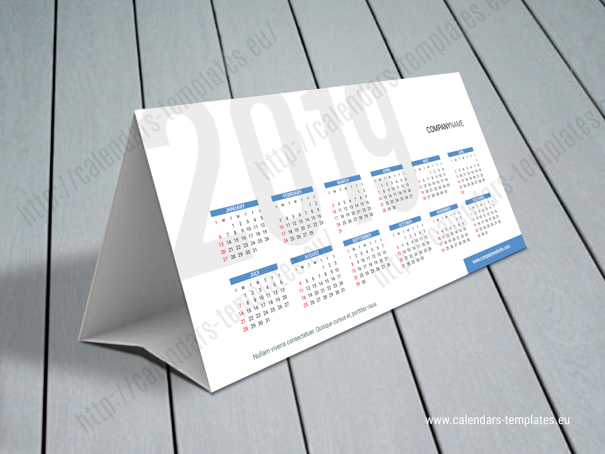 2019 Desk calendar KB60-W2 | Template