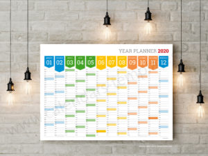 2020 year wall planners calendars templates