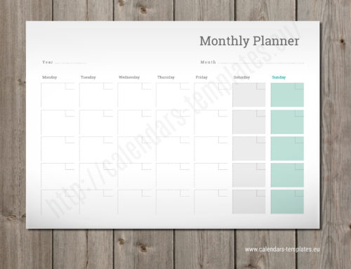 2020 Monthly planner PM-W9