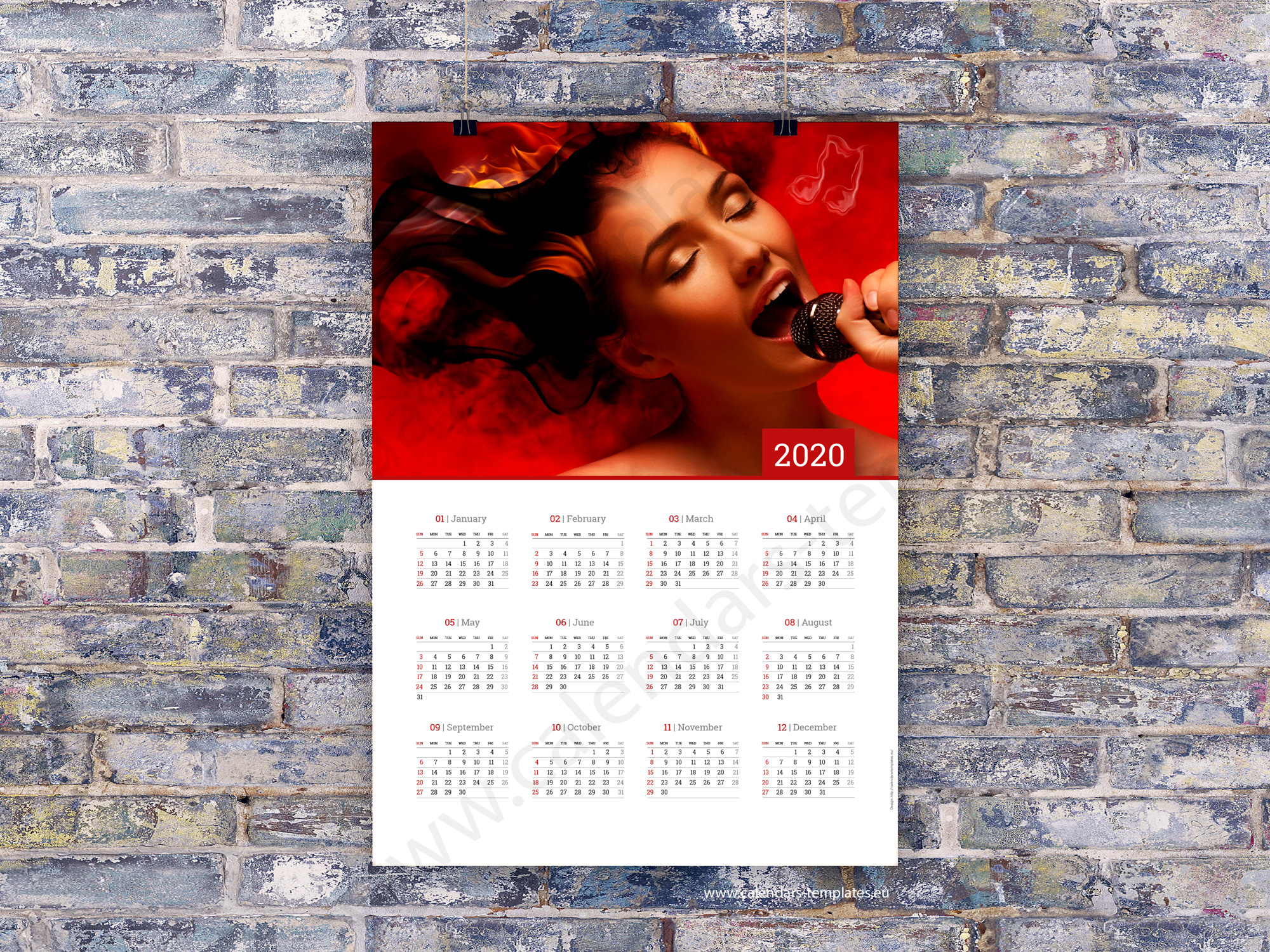 Poster Calendario 2020.2020 Yearly Wall Planners Calendars Printable Templates Pdf