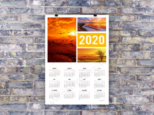 2020 big wall poster photo year calendar template