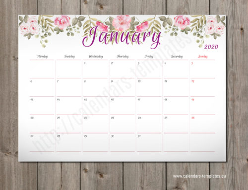 2020 Monthly planner PM-W2