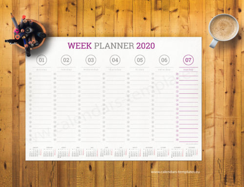 2020 Weekly planner PT-W4