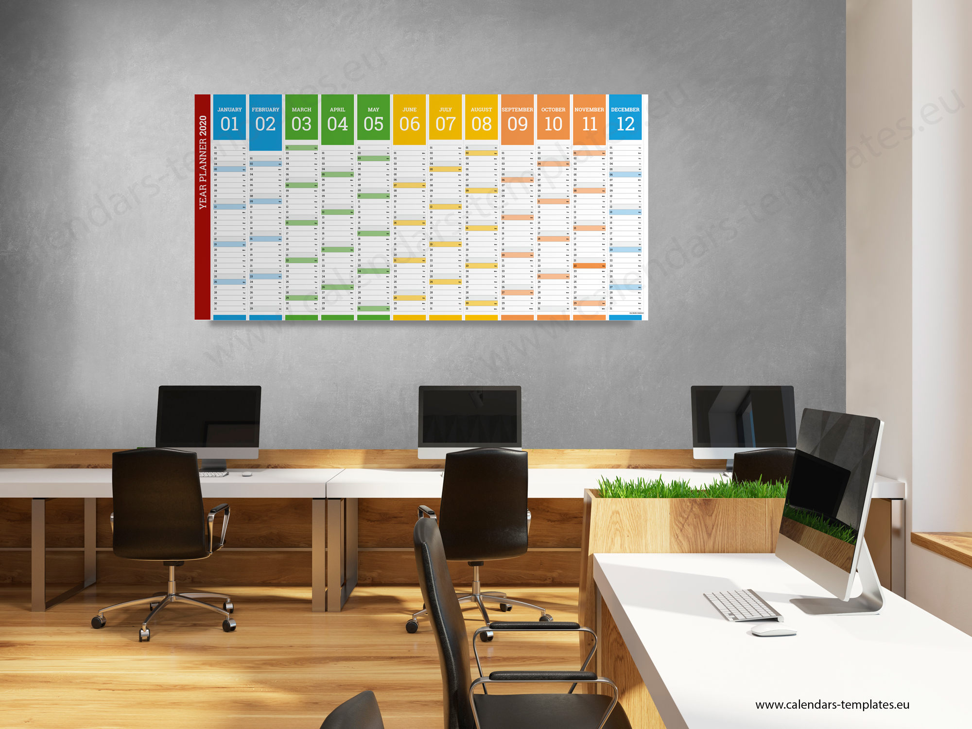 2020 Yearly wall planner KP-W12 Long