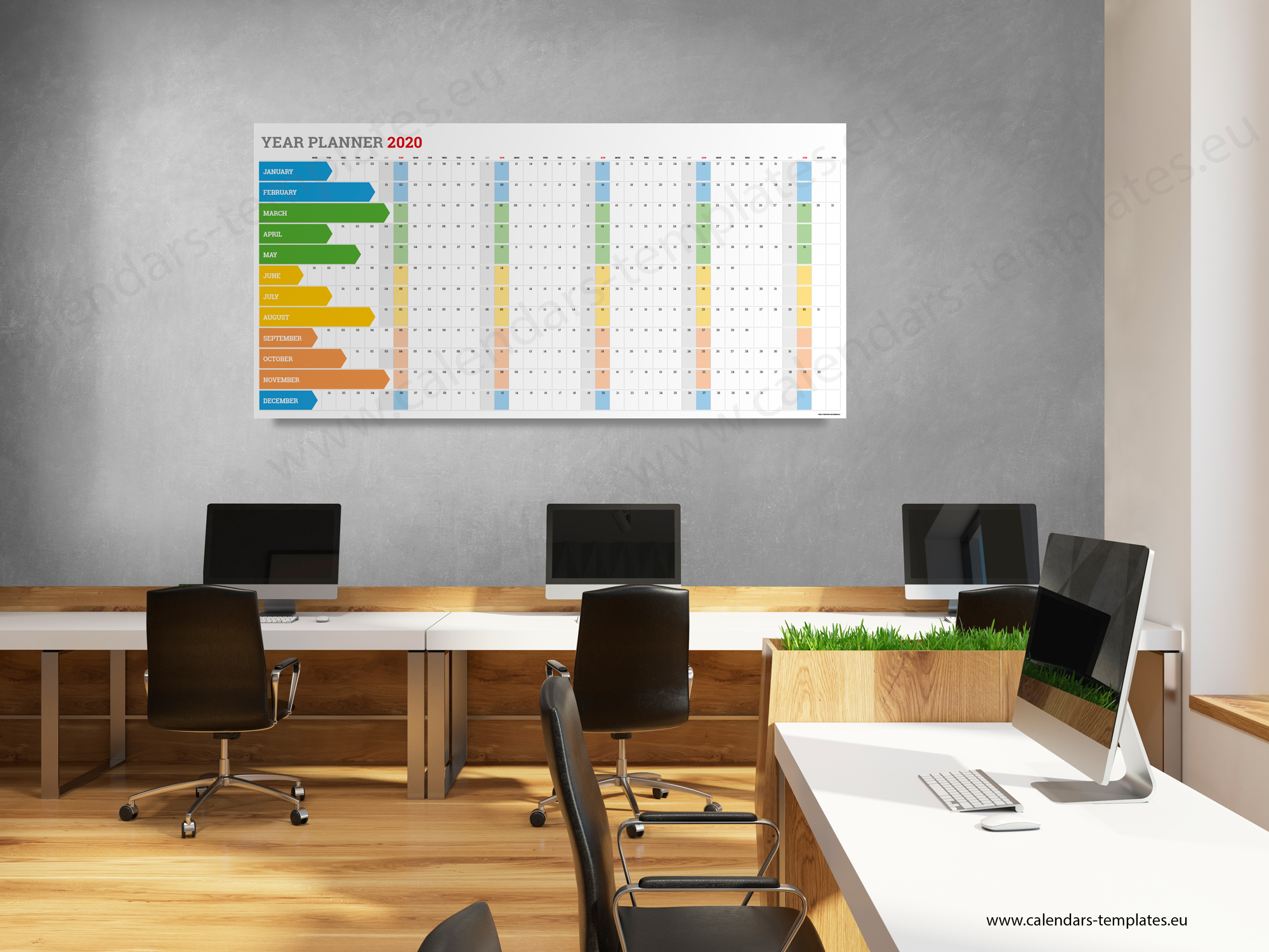 2020 Yearly wall planner KP-W5 Long