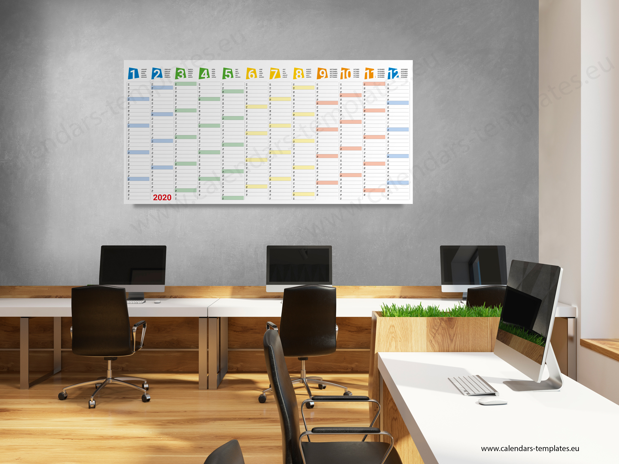 2020 Yearly wall planner KP-W24 Long